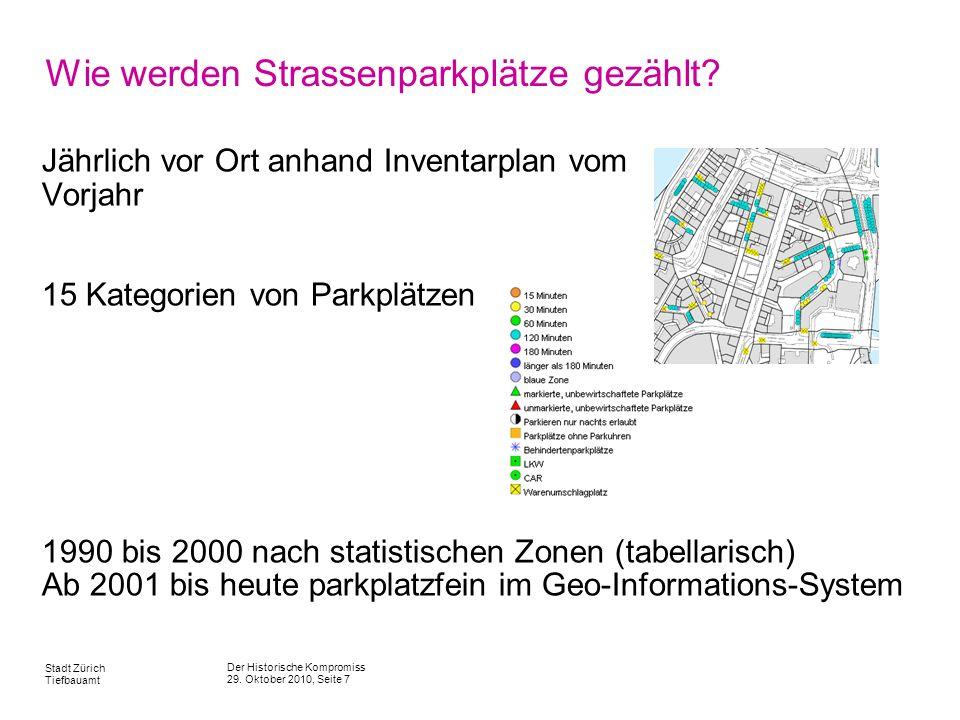 Der Historische Kompromiss 29. Oktober 2010, Seite 7 Stadt Zürich Tiefbauamt Wie werden Strassenparkplätze gezählt? Jährlich vor Ort anhand Inventarpl