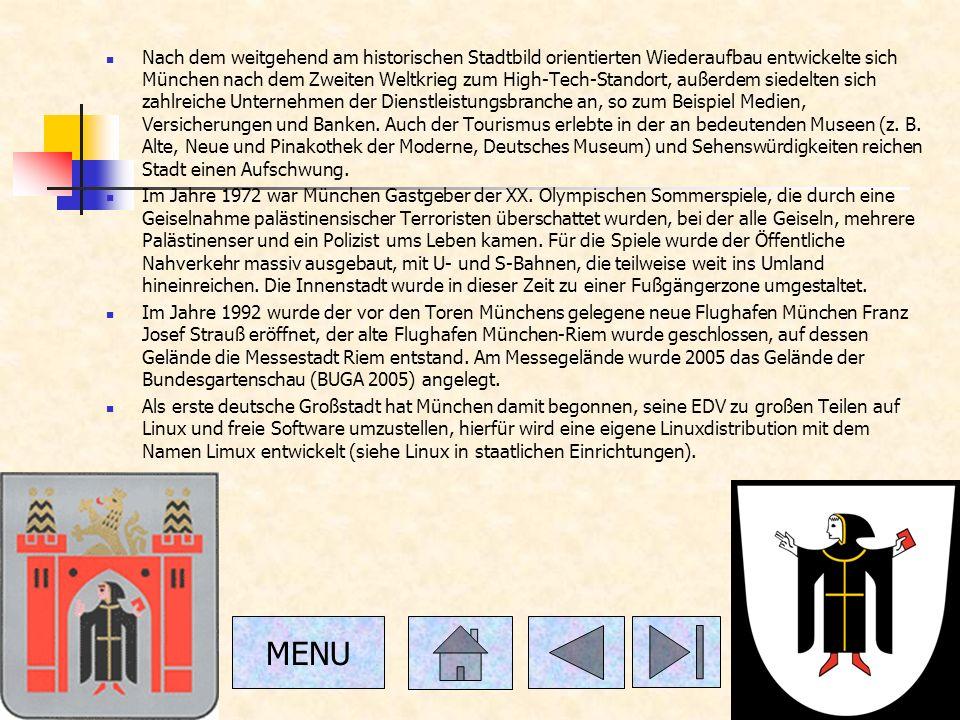 Nach dem weitgehend am historischen Stadtbild orientierten Wiederaufbau entwickelte sich München nach dem Zweiten Weltkrieg zum High-Tech-Standort, außerdem siedelten sich zahlreiche Unternehmen der Dienstleistungsbranche an, so zum Beispiel Medien, Versicherungen und Banken.