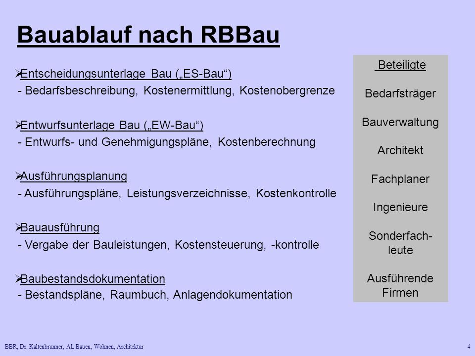 BBR, Dr. Kaltenbrunner, AL Bauen, Wohnen, Architektur4 Bauablauf nach RBBau Entscheidungsunterlage Bau (ES-Bau) - Bedarfsbeschreibung, Kostenermittlun