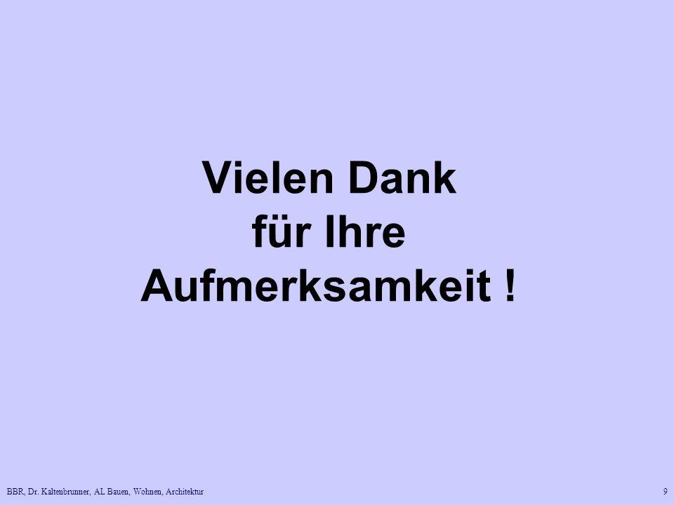BBR, Dr. Kaltenbrunner, AL Bauen, Wohnen, Architektur9 Vielen Dank für Ihre Aufmerksamkeit !