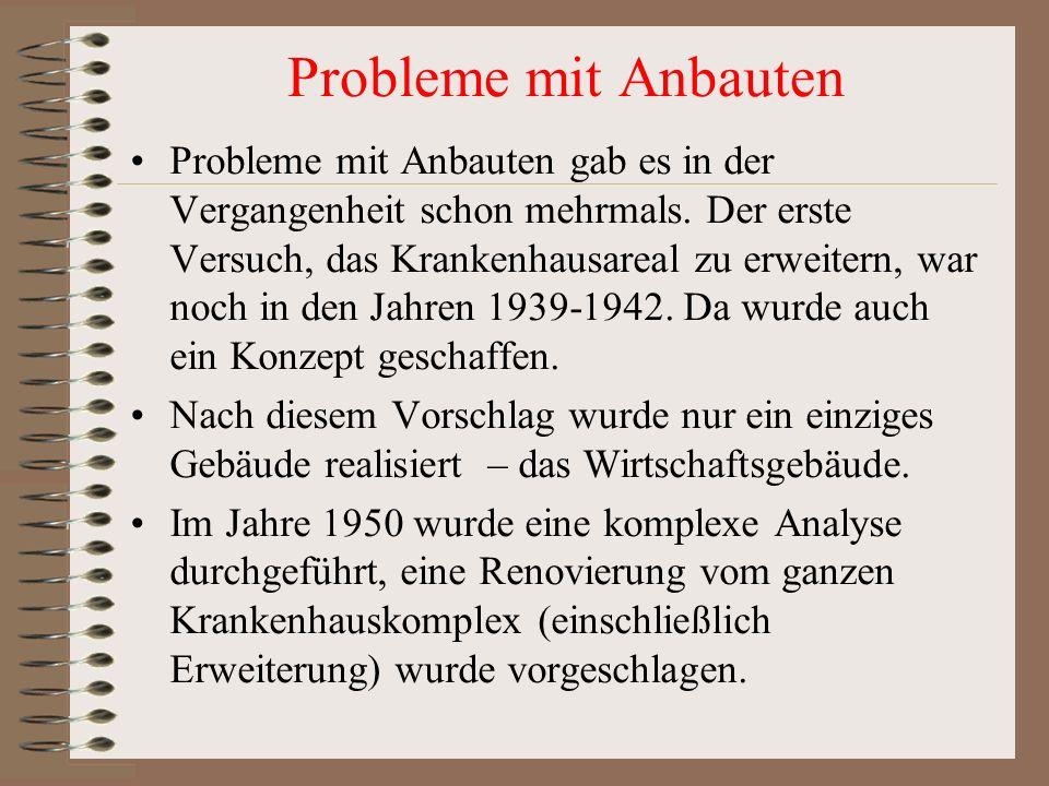 Probleme mit Anbauten Probleme mit Anbauten gab es in der Vergangenheit schon mehrmals. Der erste Versuch, das Krankenhausareal zu erweitern, war noch