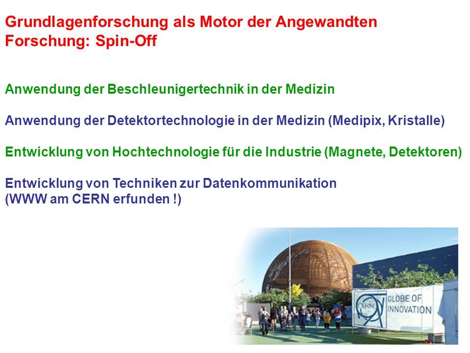 Grundlagenforschung als Motor der Angewandten Forschung: Spin-Off Anwendung der Beschleunigertechnik in der Medizin Anwendung der Detektortechnologie