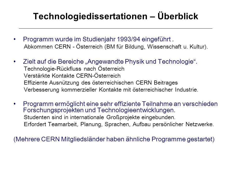 Technologiedissertationen – Überblick Programm wurde im Studienjahr 1993/94 eingeführt. Abkommen CERN - Österreich (BM für Bildung, Wissenschaft u. Ku