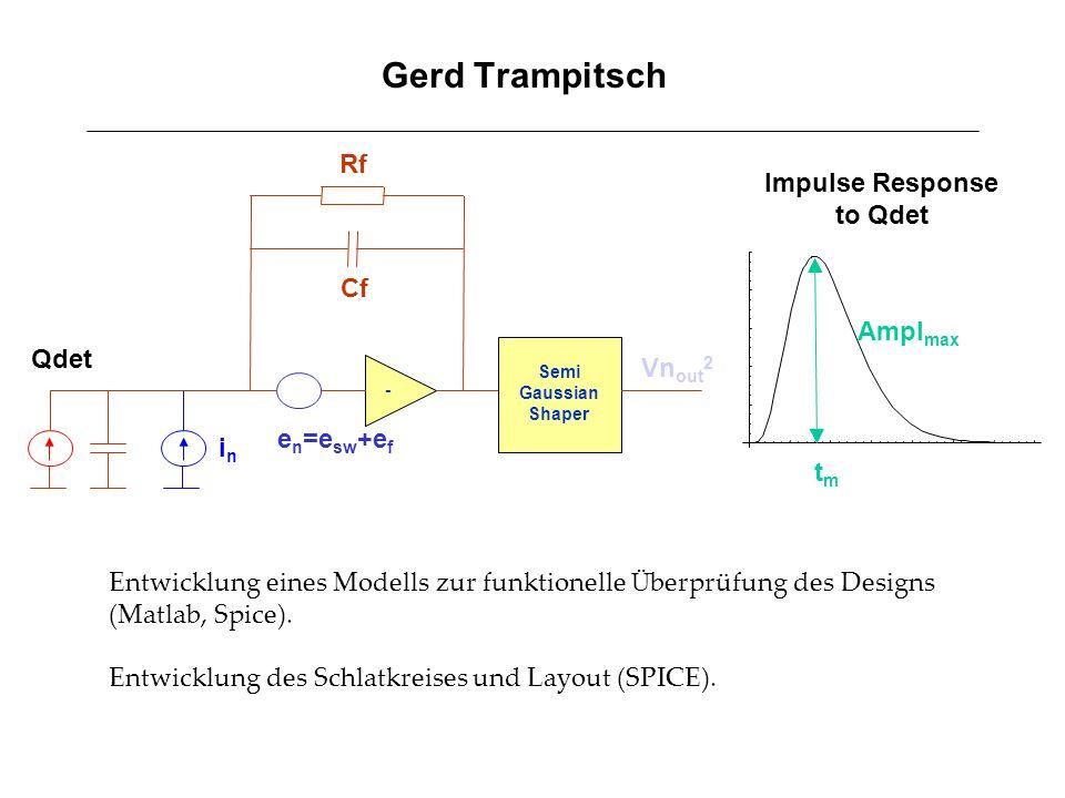 Gerd Trampitsch - Qdet inin Rf Cf e n =e sw +e f Semi Gaussian Shaper Vn out 2 Ampl max Impulse Response to Qdet tmtm Entwicklung eines Modells zur fu
