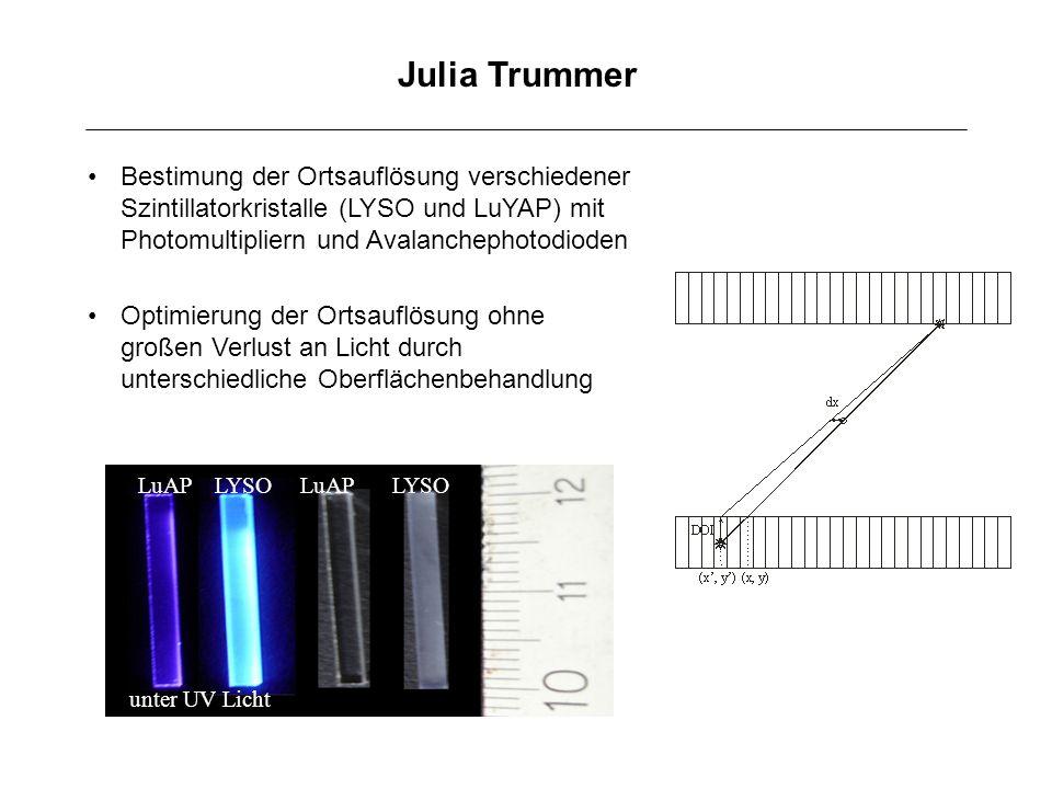 Julia Trummer Bestimung der Ortsauflösung verschiedener Szintillatorkristalle (LYSO und LuYAP) mit Photomultipliern und Avalanchephotodioden Optimieru