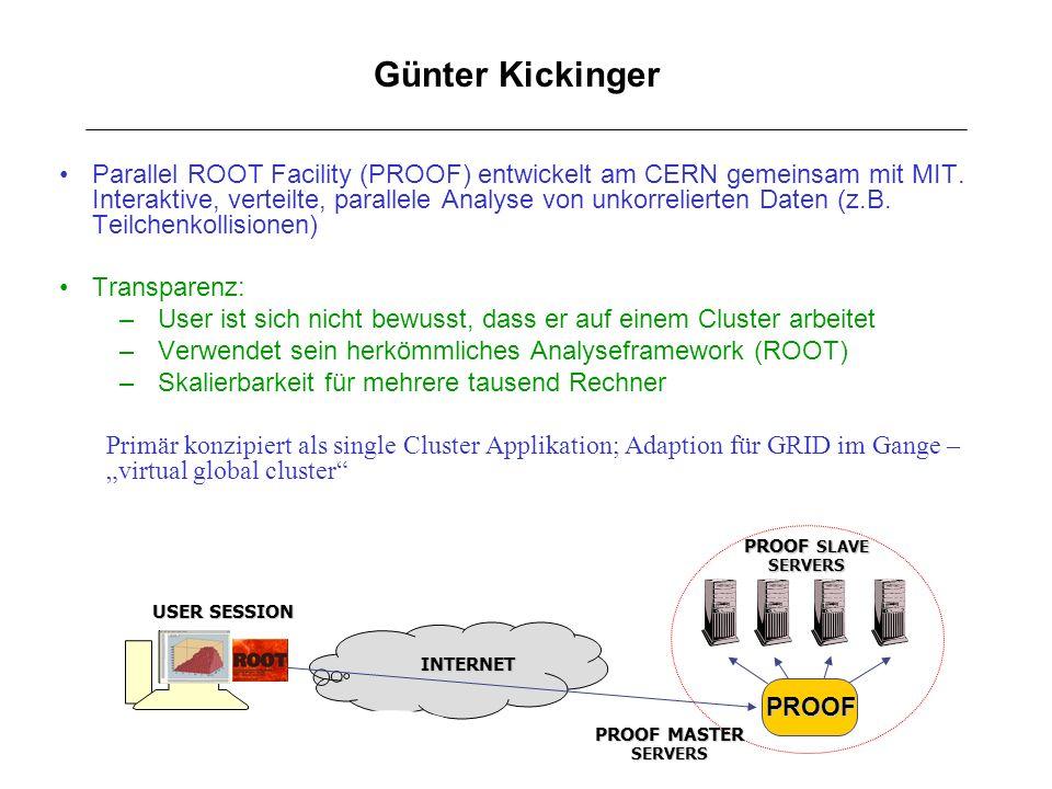 Günter Kickinger Parallel ROOT Facility (PROOF) entwickelt am CERN gemeinsam mit MIT. Interaktive, verteilte, parallele Analyse von unkorrelierten Dat