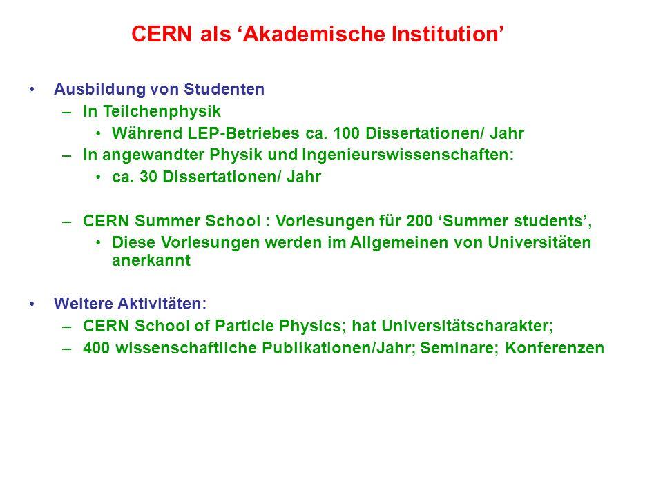 CERN: einige Zahlen Budget –~ 800 M Euro/ Jahr (2003) –Im Vergleich TU Wien : ~ 200 M Euro/Jahr ETH Zürich : ~600 M Euro/Jahr –CERN eine grössere europäische Universität Personal –2350 CERN Staff Wissenschaftliche Benützer der CERN Anlagen –ca.
