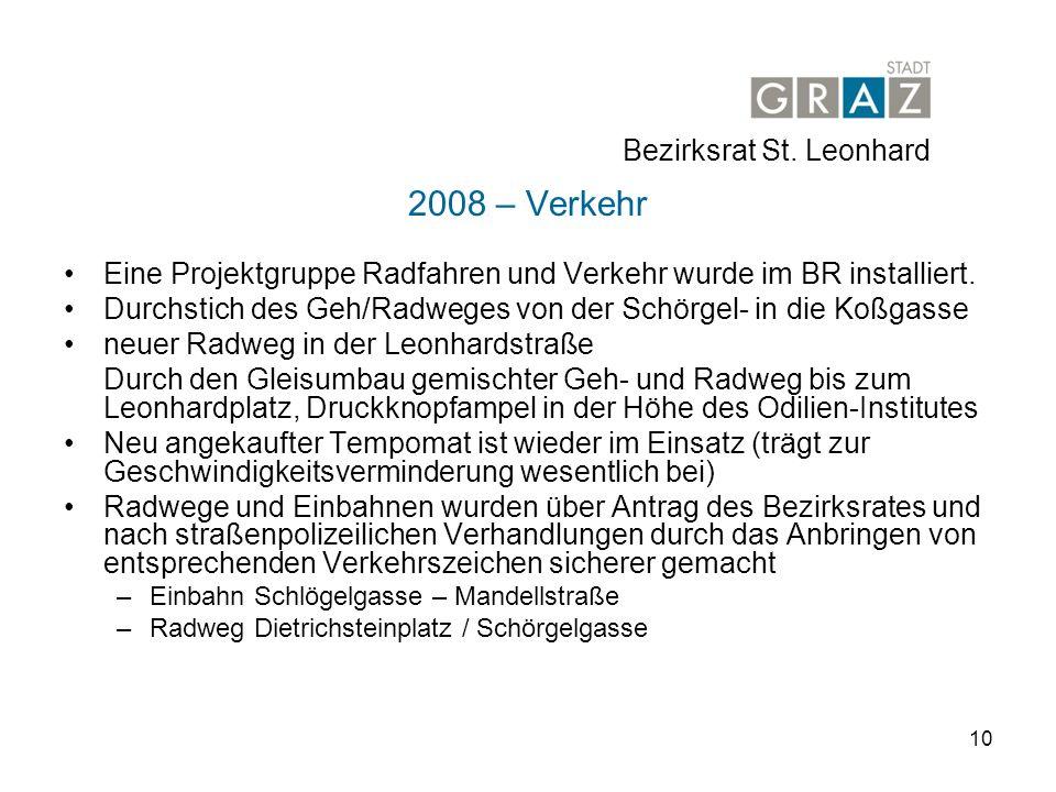 10 2008 – Verkehr Eine Projektgruppe Radfahren und Verkehr wurde im BR installiert.