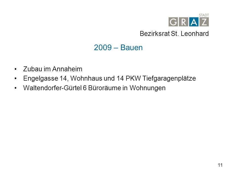 11 2009 – Bauen Zubau im Annaheim Engelgasse 14, Wohnhaus und 14 PKW Tiefgaragenplätze Waltendorfer-Gürtel 6 Büroräume in Wohnungen Bezirksrat St.
