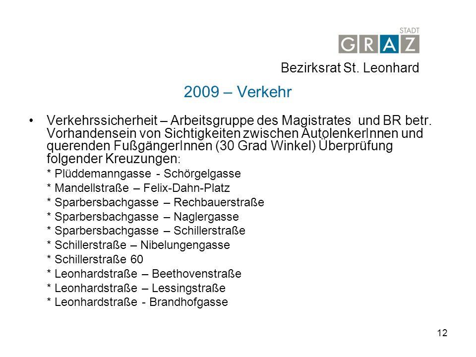 12 2009 – Verkehr Verkehrssicherheit – Arbeitsgruppe des Magistrates und BR betr.