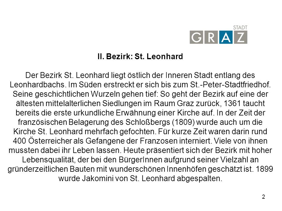 2 II.Bezirk: St. Leonhard Der Bezirk St.