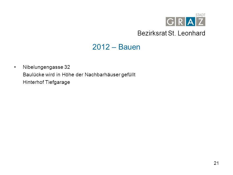 21 2012 – Bauen Nibelungengasse 32 Baulücke wird in Höhe der Nachbarhäuser gefüllt Hinterhof Tiefgarage Bezirksrat St.