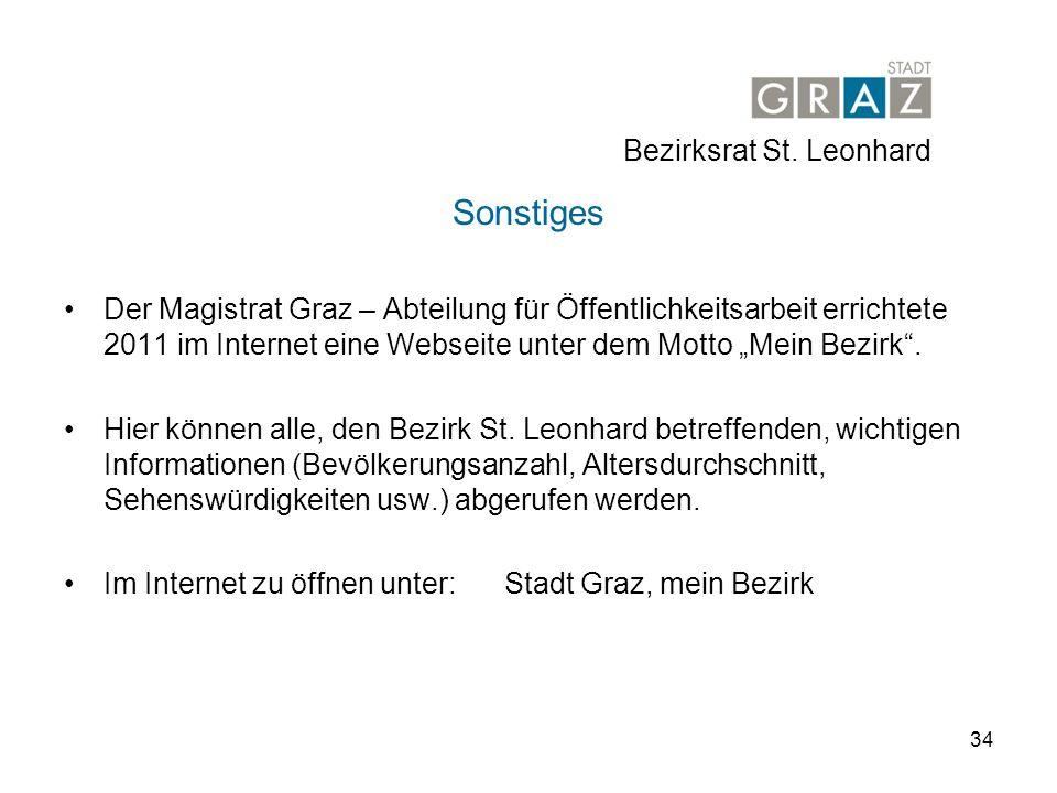 34 Sonstiges Der Magistrat Graz – Abteilung für Öffentlichkeitsarbeit errichtete 2011 im Internet eine Webseite unter dem Motto Mein Bezirk.