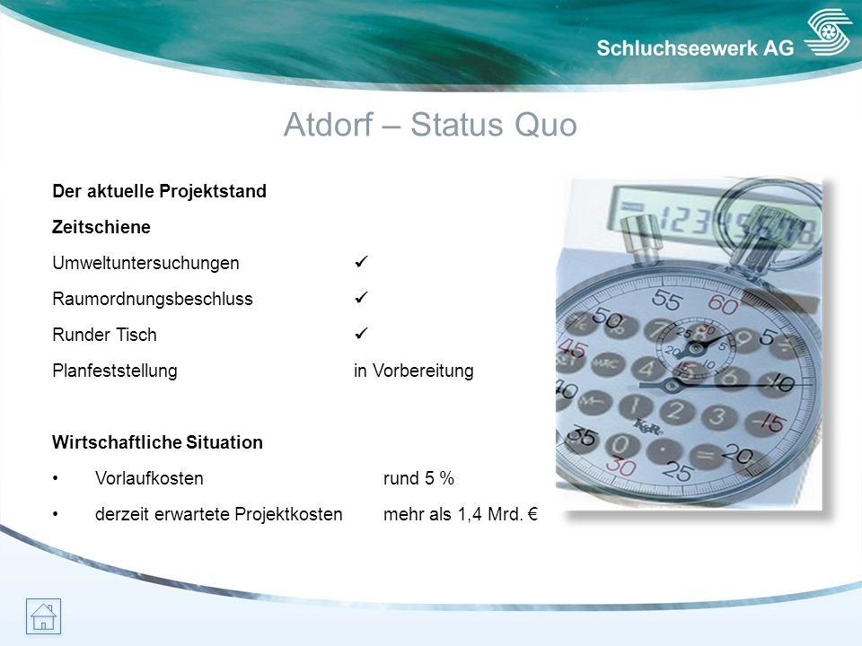 Atdorf – Status Quo Der aktuelle Projektstand Zeitschiene Umweltuntersuchungen Raumordnungsbeschluss Runder Tisch Planfeststellung in Vorbereitung Wir
