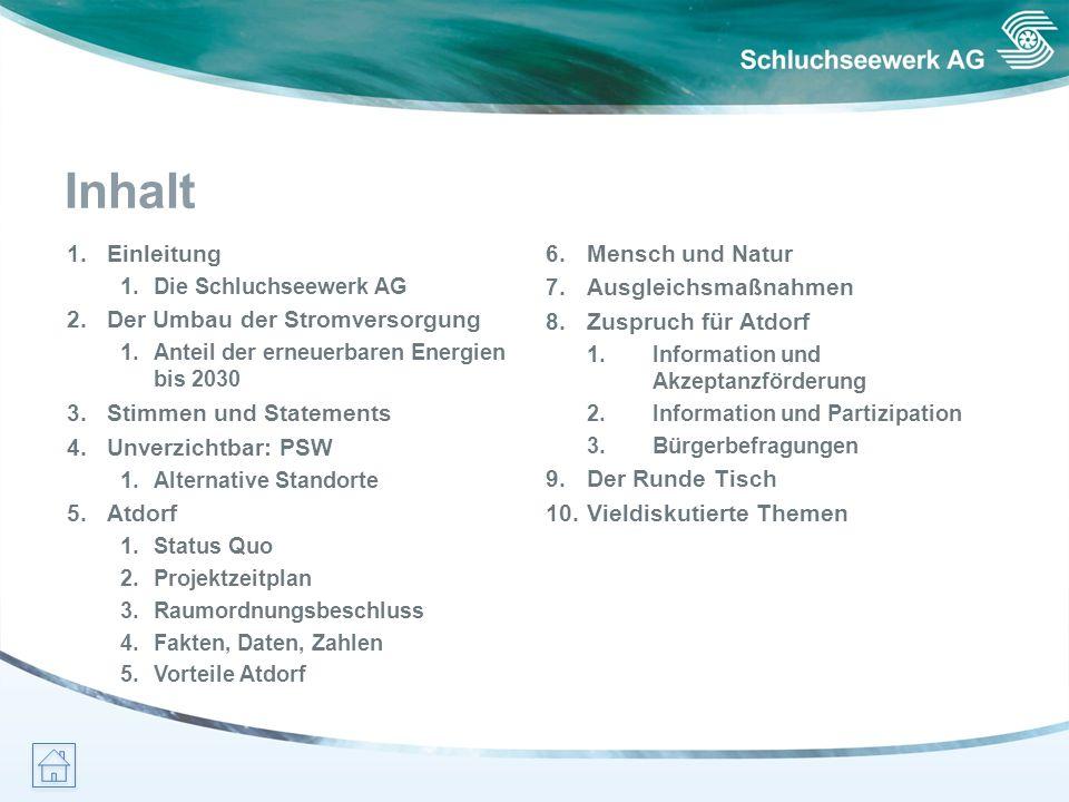 Inhalt 1.Einleitung 1.Die Schluchseewerk AG 2.Der Umbau der Stromversorgung 1.Anteil der erneuerbaren Energien bis 2030 3.Stimmen und Statements 4.Unv