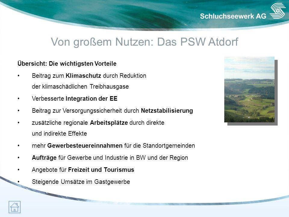 Von großem Nutzen: Das PSW Atdorf Übersicht: Die wichtigsten Vorteile Beitrag zum Klimaschutz durch Reduktion der klimaschädlichen Treibhausgase Verbe