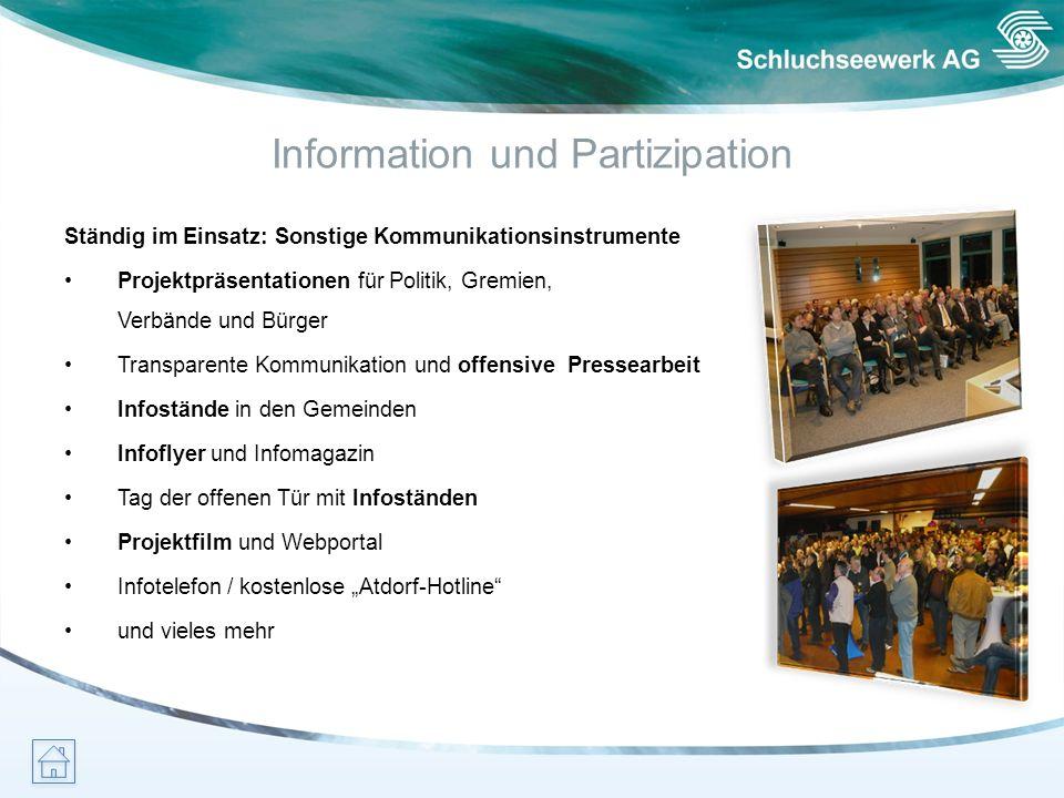Information und Partizipation Ständig im Einsatz: Sonstige Kommunikationsinstrumente Projektpräsentationen für Politik, Gremien, Verbände und Bürger T
