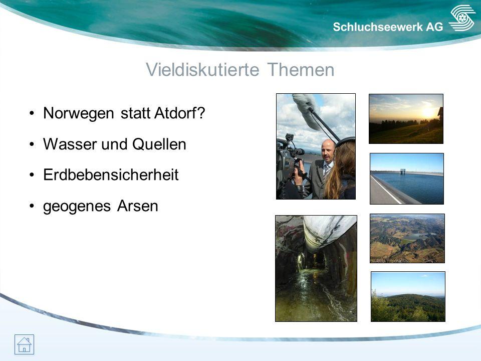 Vieldiskutierte Themen Norwegen statt Atdorf? Wasser und Quellen Erdbebensicherheit geogenes Arsen