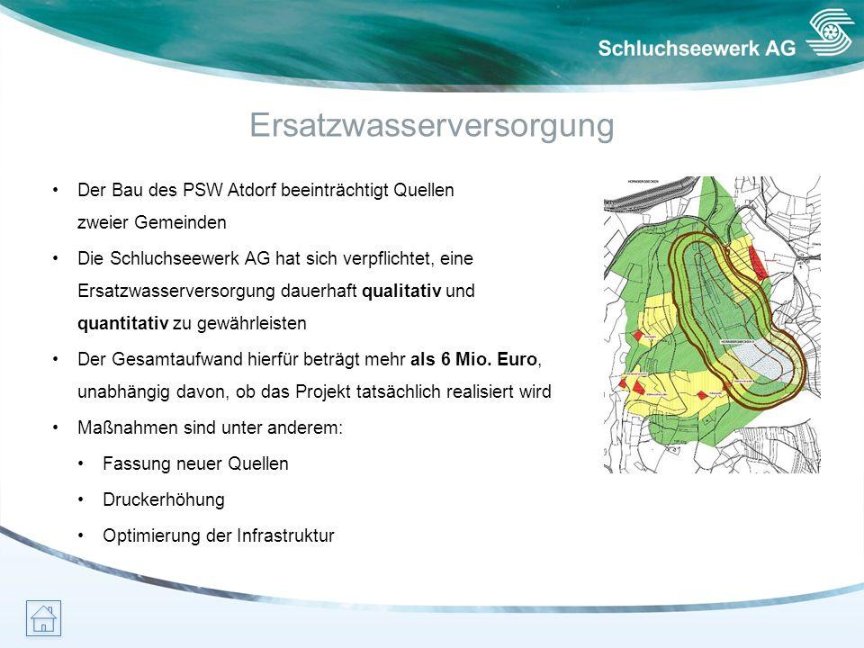 Ersatzwasserversorgung Der Bau des PSW Atdorf beeinträchtigt Quellen zweier Gemeinden Die Schluchseewerk AG hat sich verpflichtet, eine Ersatzwasserve