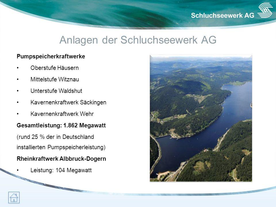 Anlagen der Schluchseewerk AG Pumpspeicherkraftwerke Oberstufe Häusern Mittelstufe Witznau Unterstufe Waldshut Kavernenkraftwerk Säckingen Kavernenkra