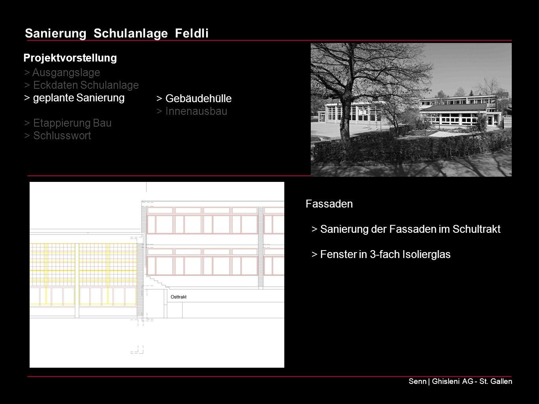 Sanierung Schulanlage Feldli Senn | Ghisleni AG - St. Gallen > Ausgangslage > Eckdaten Schulanlage > geplante Sanierung > Etappierung Bau > Schlusswor