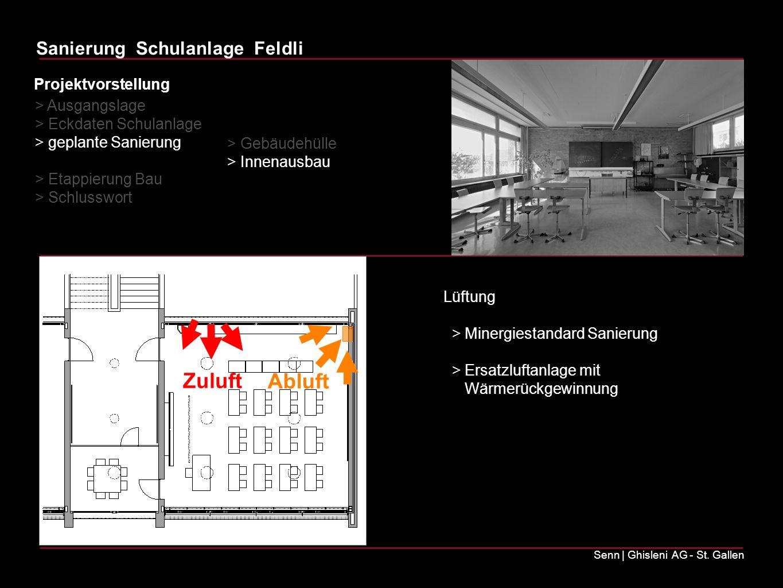 Sanierung Schulanlage Feldli Senn | Ghisleni AG - St. Gallen Lüftung > Minergiestandard Sanierung > Ersatzluftanlage mit Wärmerückgewinnung > Ausgangs