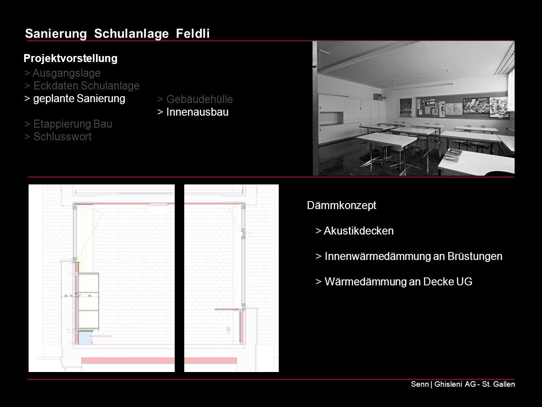 Sanierung Schulanlage Feldli Senn | Ghisleni AG - St. Gallen Dämmkonzept > Akustikdecken > Innenwärmedämmung an Brüstungen > Wärmedämmung an Decke UG