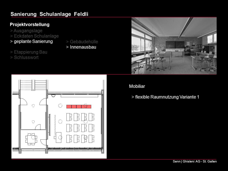 Sanierung Schulanlage Feldli Senn | Ghisleni AG - St. Gallen Mobiliar > flexible Raumnutzung Variante 1 > Ausgangslage > Eckdaten Schulanlage > geplan