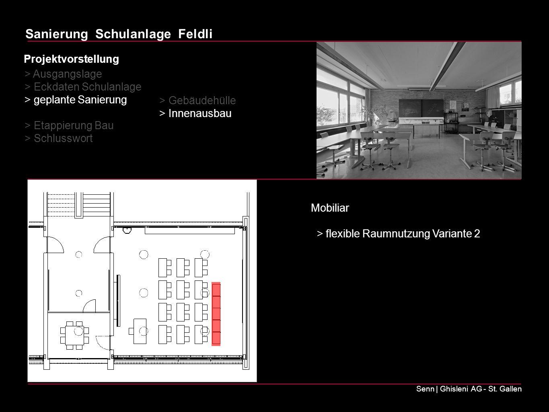 Sanierung Schulanlage Feldli Senn | Ghisleni AG - St. Gallen Mobiliar > flexible Raumnutzung Variante 2 > Ausgangslage > Eckdaten Schulanlage > geplan