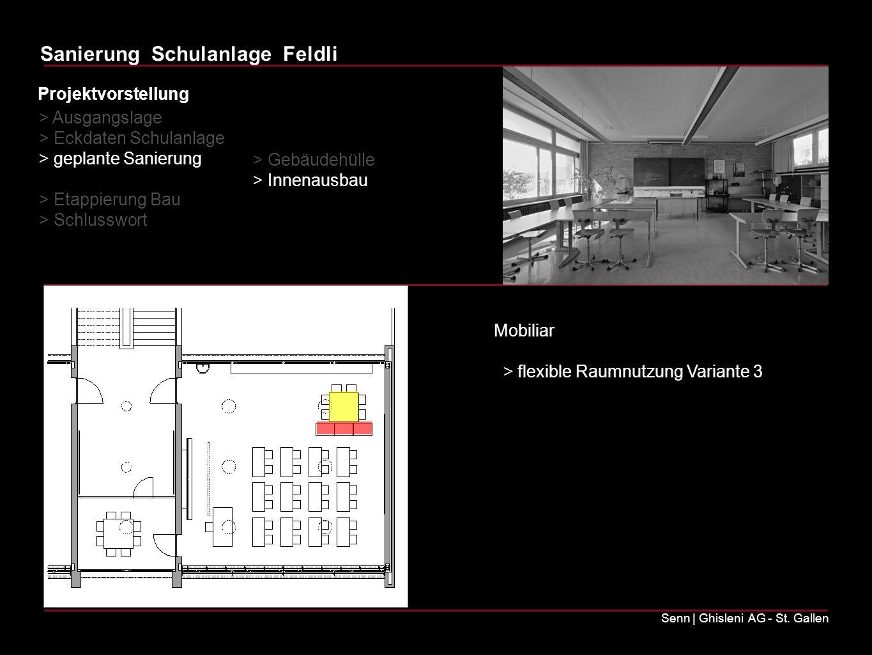 Sanierung Schulanlage Feldli Senn | Ghisleni AG - St. Gallen Mobiliar > flexible Raumnutzung Variante 3 > Ausgangslage > Eckdaten Schulanlage > geplan