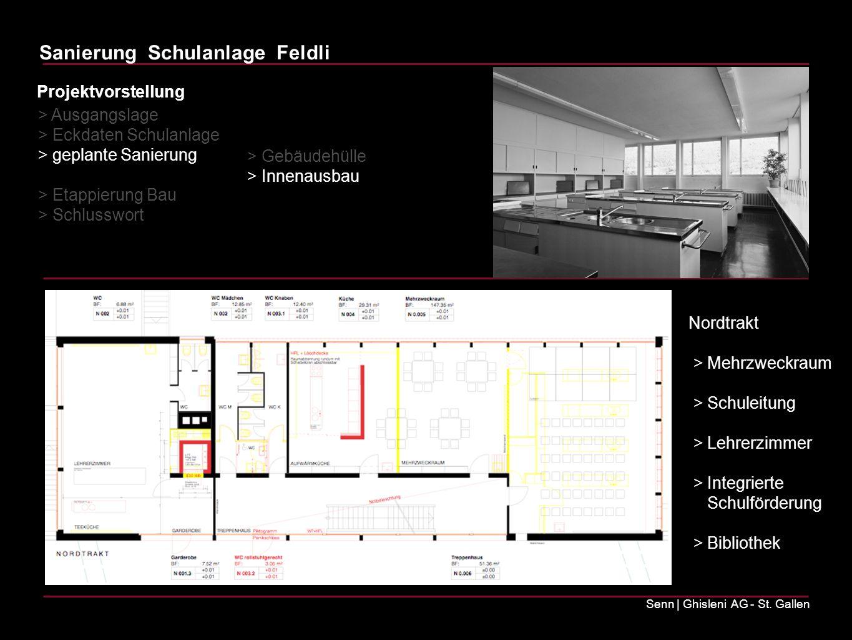 Sanierung Schulanlage Feldli Senn | Ghisleni AG - St. Gallen Nordtrakt > Mehrzweckraum > Schuleitung > Lehrerzimmer > Integrierte Schulförderung > Bib