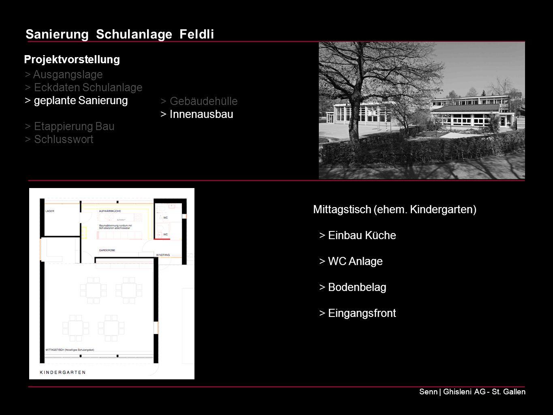 Sanierung Schulanlage Feldli Senn | Ghisleni AG - St. Gallen Mittagstisch (ehem. Kindergarten) > Einbau Küche > WC Anlage > Bodenbelag > Eingangsfront