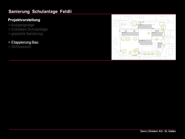 Sanierung Schulanlage Feldli Senn | Ghisleni AG - St. Gallen Projektvorstellung > Ausgangslage > Eckdaten Schulanlage > geplante Sanierung > Etappieru