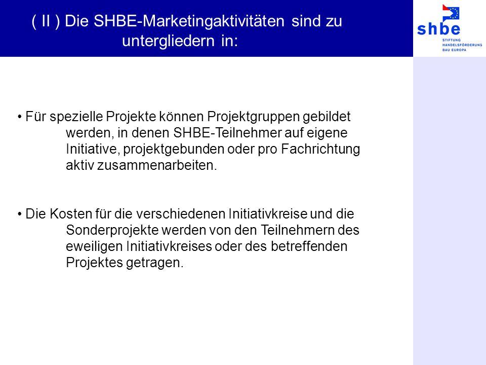 Für spezielle Projekte können Projektgruppen gebildet werden, in denen SHBE-Teilnehmer auf eigene Initiative, projektgebunden oder pro Fachrichtung aktiv zusammenarbeiten.