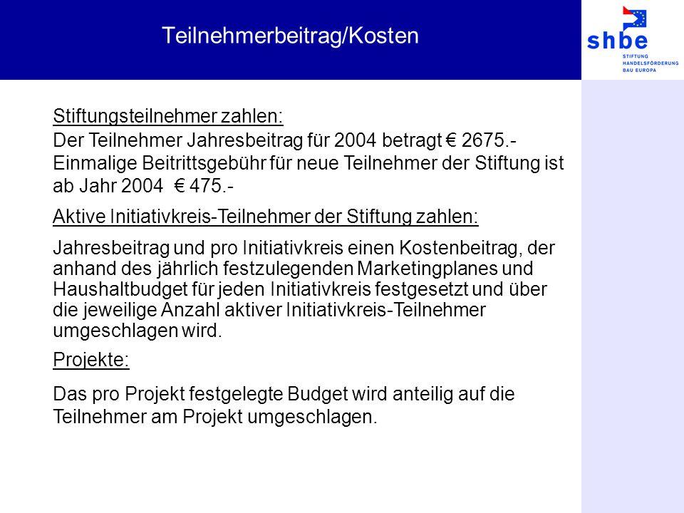Teilnehmerbeitrag/Kosten Stiftungsteilnehmer zahlen: Der Teilnehmer Jahresbeitrag für 2004 betragt 2675.- Einmalige Beitrittsgebühr für neue Teilnehme
