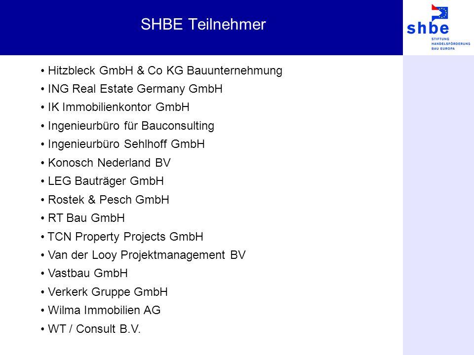SHBE Teilnehmer Hitzbleck GmbH & Co KG Bauunternehmung ING Real Estate Germany GmbH IK Immobilienkontor GmbH Ingenieurbüro für Bauconsulting Ingenieur
