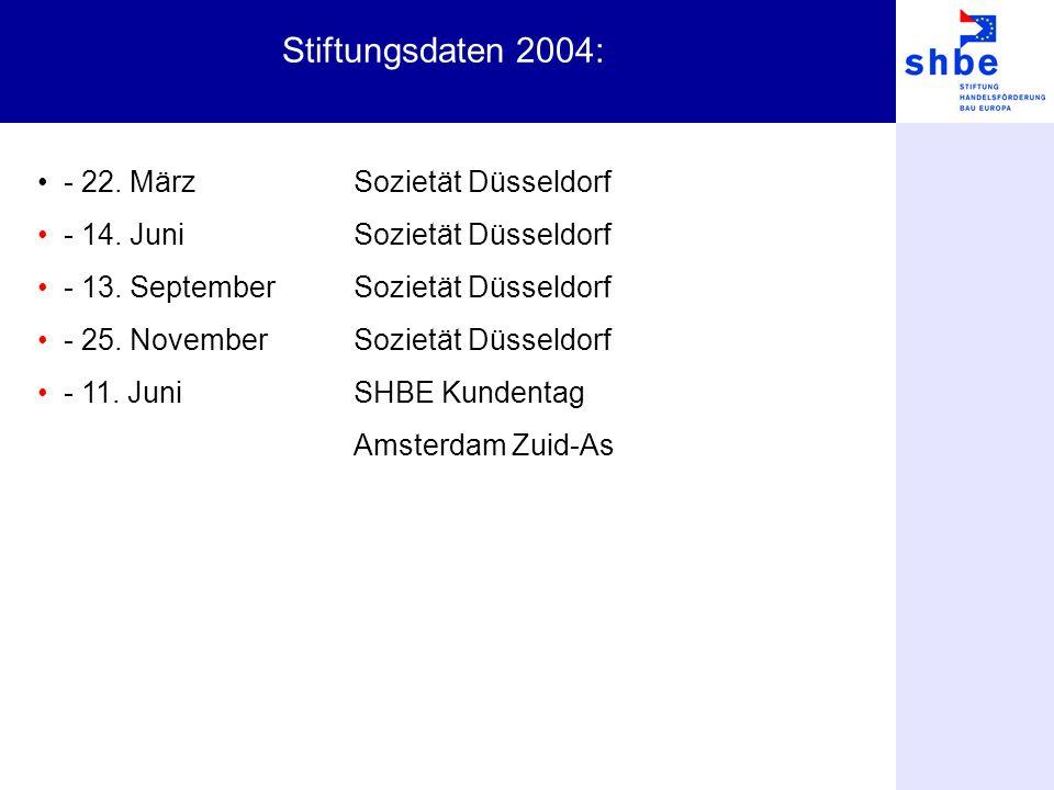 Stiftungsdaten 2004: - 22. MärzSozietät Düsseldorf - 14. JuniSozietät Düsseldorf - 13. SeptemberSozietät Düsseldorf - 25. NovemberSozietät Düsseldorf