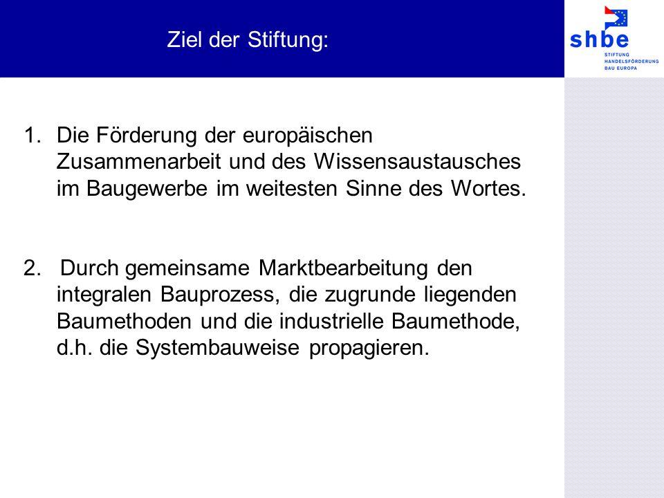 1.Die Förderung der europäischen Zusammenarbeit und des Wissensaustausches im Baugewerbe im weitesten Sinne des Wortes.
