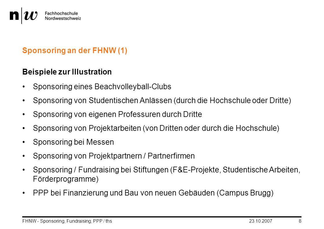 23.10.2007FHNW - Sponsoring, Fundraising, PPP / ths8 Sponsoring an der FHNW (1) Beispiele zur Illustration Sponsoring eines Beachvolleyball-Clubs Spon