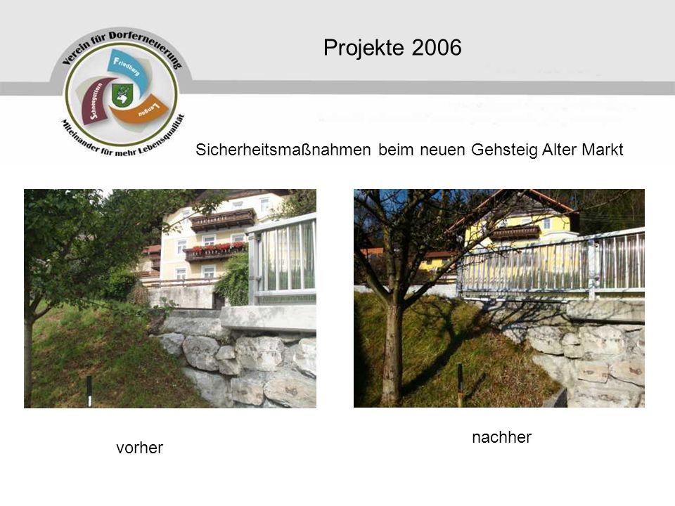 Projekte 2006 Sicherheitsmaßnahmen beim neuen Gehsteig Alter Markt vorher nachher