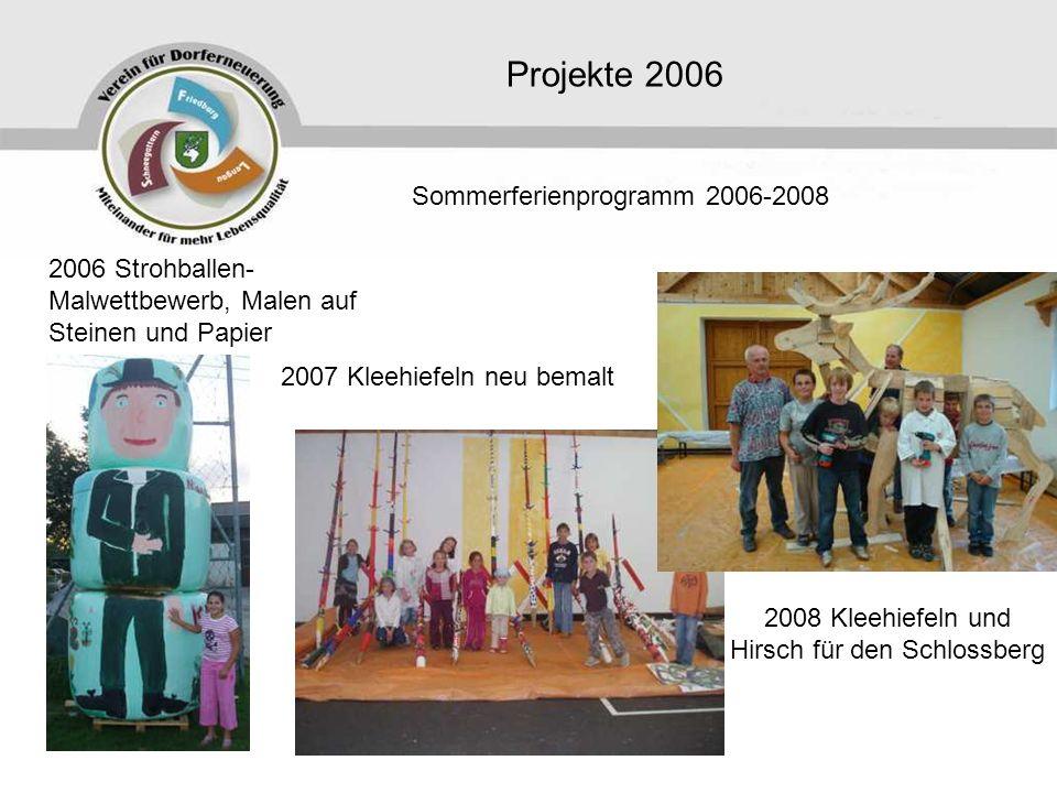Projekte 2006 2006 Strohballen- Malwettbewerb, Malen auf Steinen und Papier Sommerferienprogramm 2006-2008 2007 Kleehiefeln neu bemalt 2008 Kleehiefeln und Hirsch für den Schlossberg