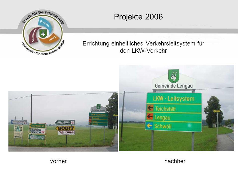 Projekte 2006 Errichtung einheitliches Verkehrsleitsystem für den LKW-Verkehr vorhernachher
