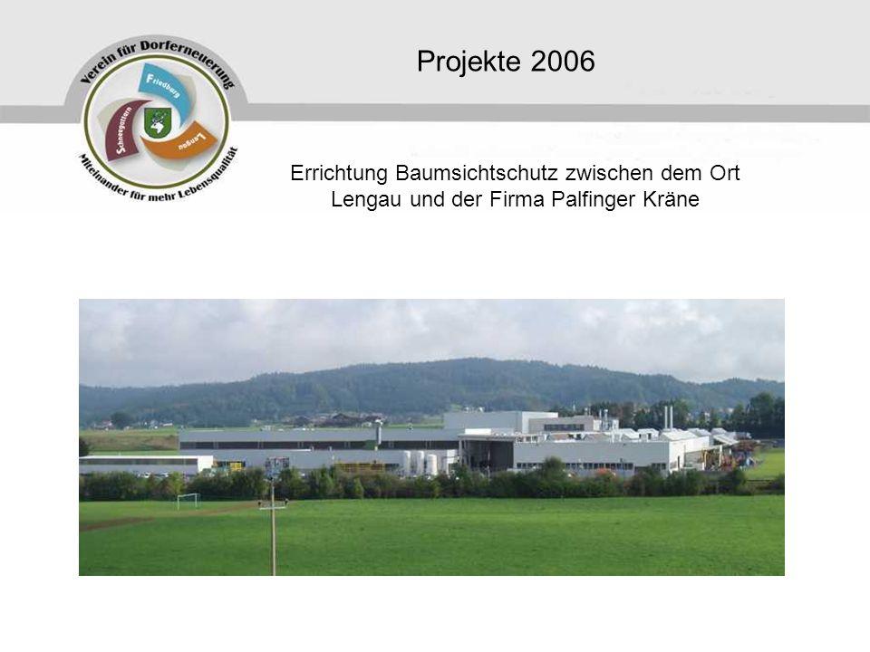 Projekte 2006 Errichtung Baumsichtschutz zwischen dem Ort Lengau und der Firma Palfinger Kräne