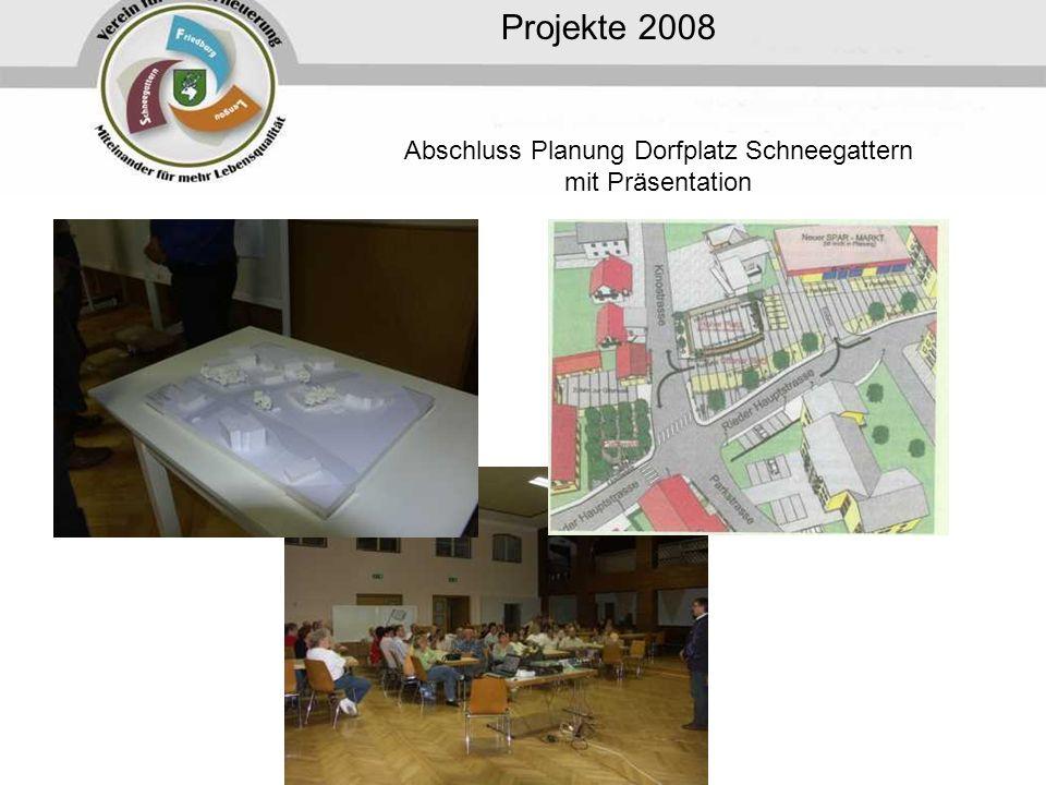 Projekte 2008 Abschluss Planung Dorfplatz Schneegattern mit Präsentation