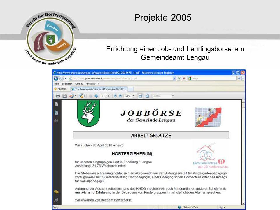 Projekte 2005 Errichtung einer Job- und Lehrlingsbörse am Gemeindeamt Lengau