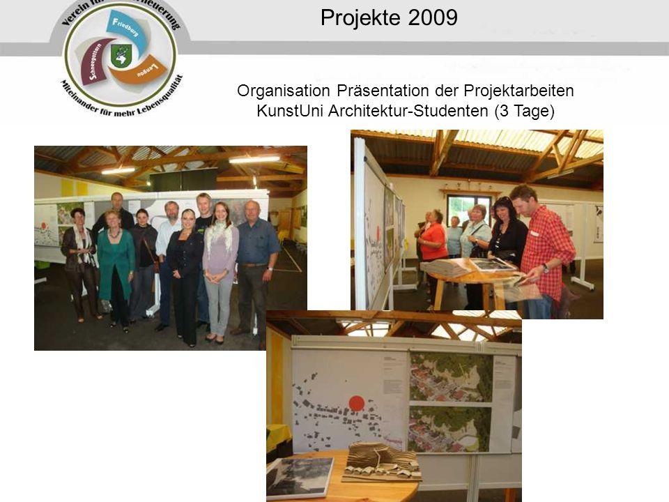 Projekte 2009 Organisation Präsentation der Projektarbeiten KunstUni Architektur-Studenten (3 Tage)