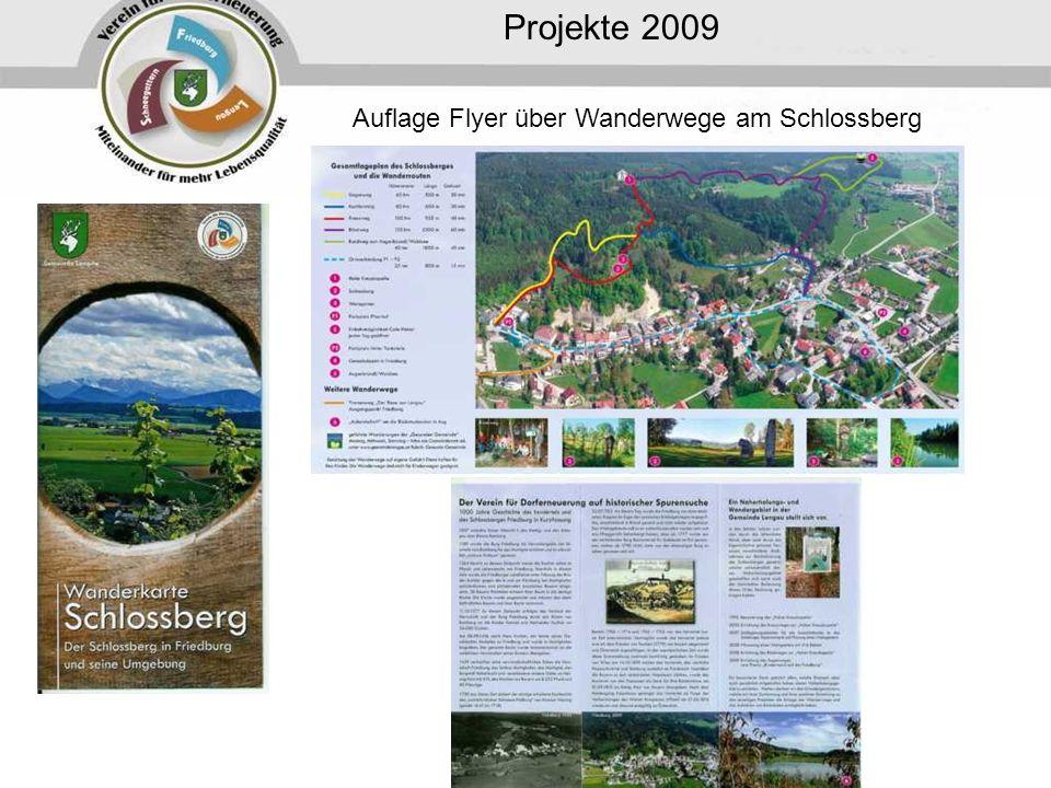 Projekte 2009 Auflage Flyer über Wanderwege am Schlossberg