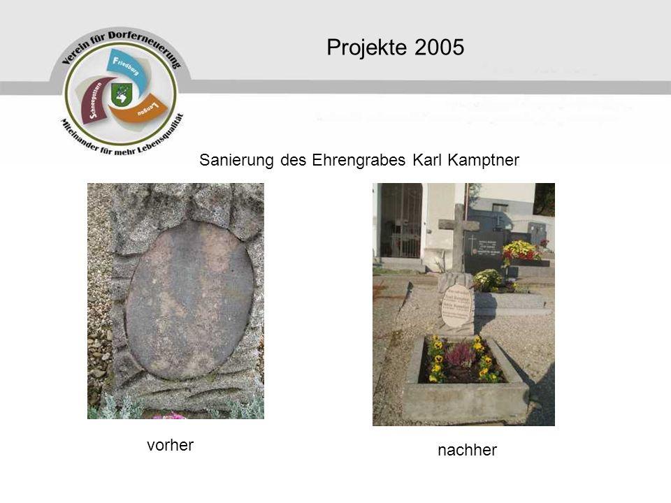 Projekte 2005 Sanierung des Ehrengrabes Karl Kamptner vorher nachher