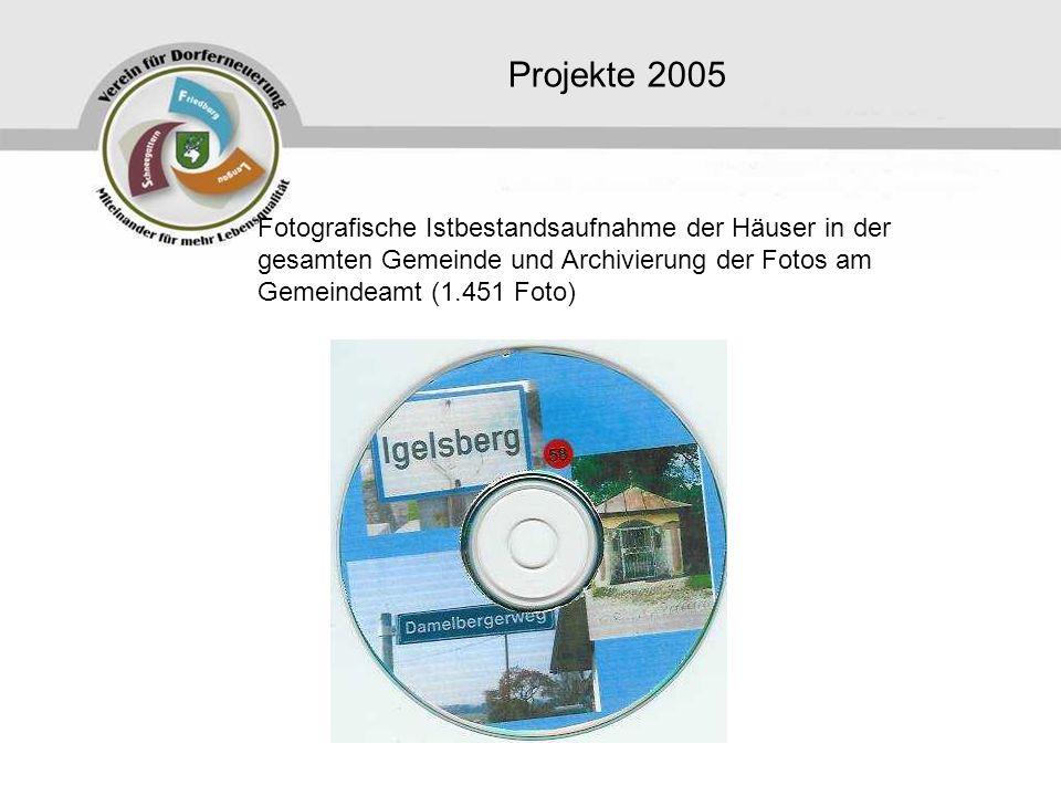Projekte 2005 Fotografische Istbestandsaufnahme der Häuser in der gesamten Gemeinde und Archivierung der Fotos am Gemeindeamt (1.451 Foto)
