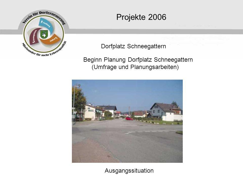 Projekte 2006 Beginn Planung Dorfplatz Schneegattern (Umfrage und Planungsarbeiten) Dorfplatz Schneegattern Ausgangssituation